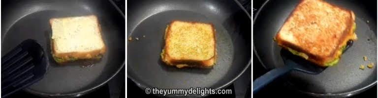 Fry the aloo sandwich over the tawa/pan.