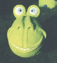 """Photo: Clyde face close-up - 20"""" tall - cement paper pulp clay"""
