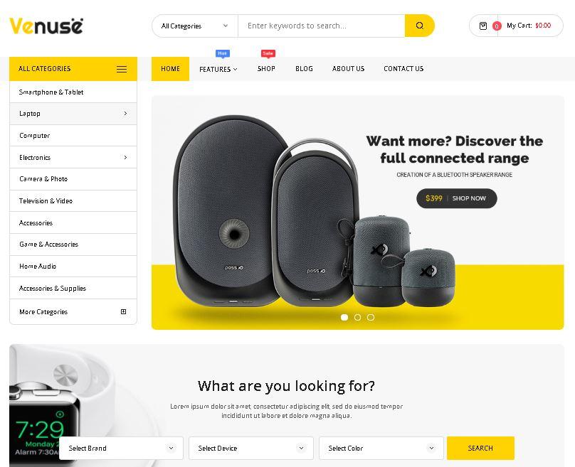 Digital products magento theme venuse