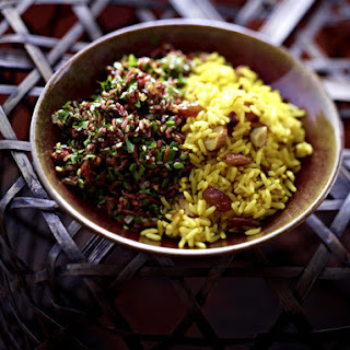Saffron Rice with Almonds and Raisins.