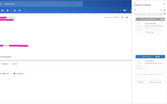 SAP Cloud for Customer for Gmail