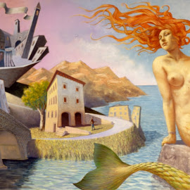 mermaid comes out by Arno river in Poppi (CAsentino) by Andrea Sinicatti - Painting All Painting