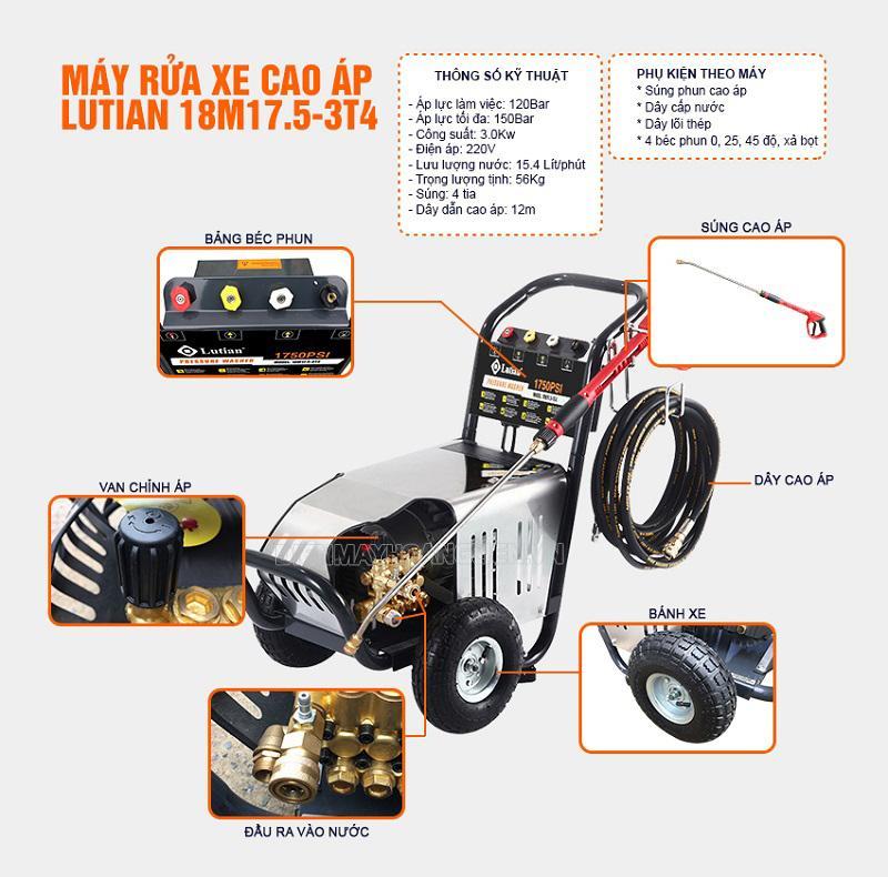 Máy rửa xe cảm ứng từ Lutian 18M17,5-3T4