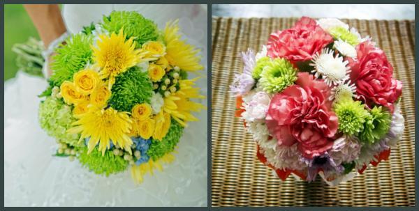 Букеты из хризантем круглой формы