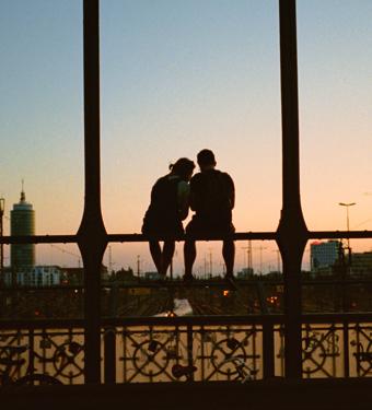 Couple Bridge Sunset