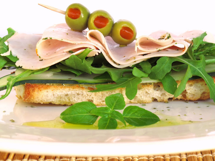 Cucumber Bruschetta  with Arugula and Turkey Ham Recipe