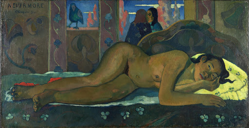 "Paul_Gauguin_nude - ""Nevermore (O Taiti)"" (1897), oil on canvas by Paul Gauguin, at the Courtauld Institute of Art in London."