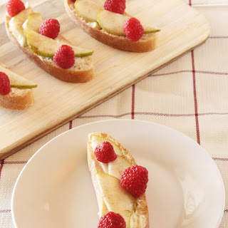 Pear, Raspberry, and Mascarpone Crostini