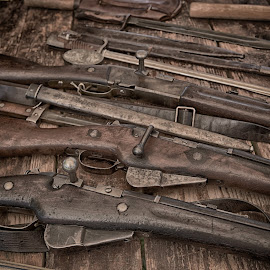 Rifles by Marco Bertamé - Artistic Objects Other Objects ( wood, rifles, many, brown )