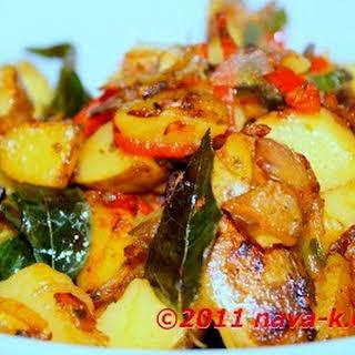 Spicy Potato Ikan Bilis/Anchovies.
