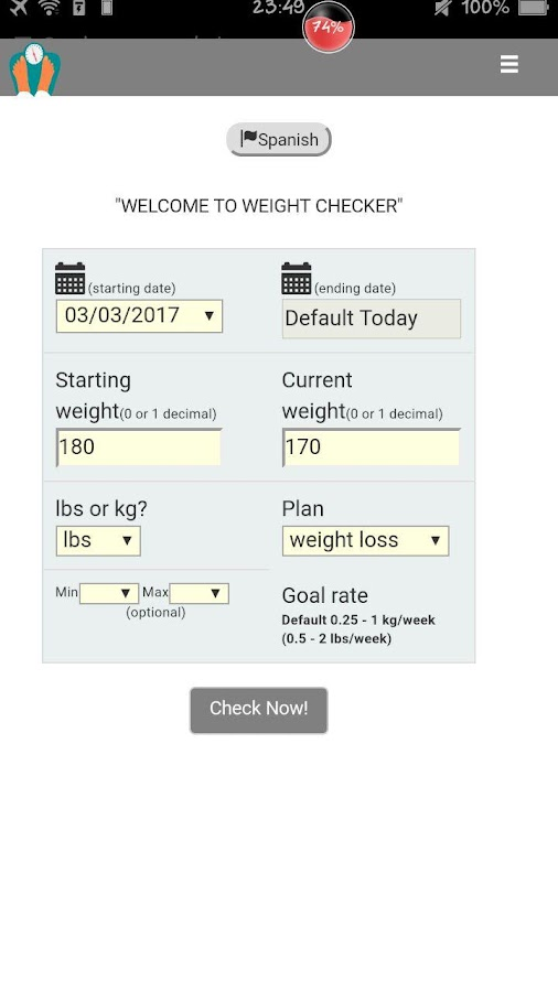 Weight Checker PRO- screenshot