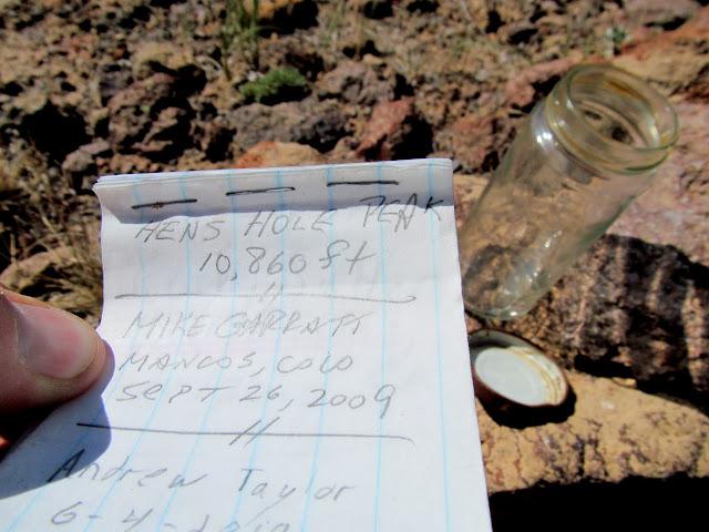 Hen's Hole Peak summit register