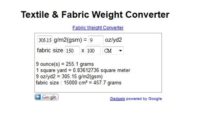 Textile Fabric Weight Converter Chrome