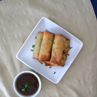 Baked Veggie Egg Rolls with Duck Sauce.