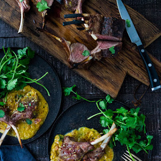 Roasted Lamb Chops with Indian Curry Sauce.
