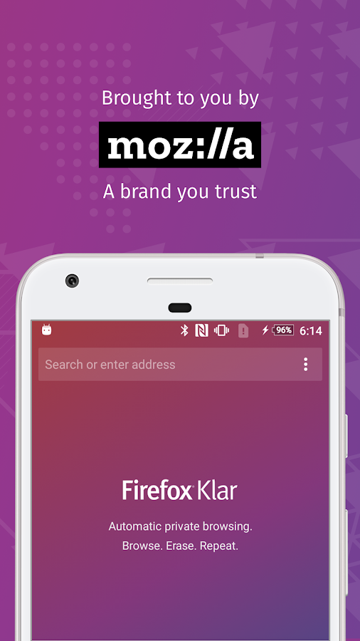 Firefox Klar: The privacy browser- screenshot
