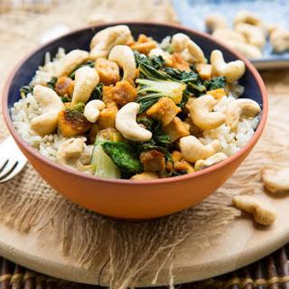 Ginger Citrus Tofu Power Bowl With Bok Choy and Cashews [Vegan].