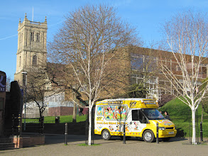 Photo: Ice cream van selling ice cream to passers by down by the river
