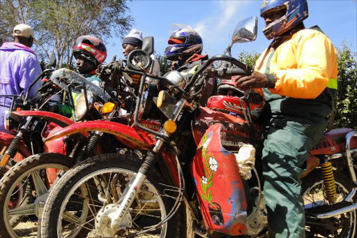 Boda boda operators at work.