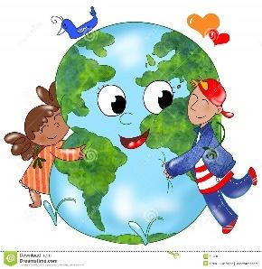 Kids embracing Earth stock vector. Illustration of natural - 13788736