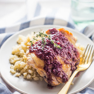 5-Ingredient Whole30 Chicken Thighs with Raspberry-Balsamic Sauce (Paleo).
