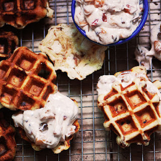 Cinnamon Roll Waffles with Bacon-Apple Frosting.