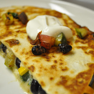 Quesadillas with Swiss Chard, Summer Squash & Black Beans
