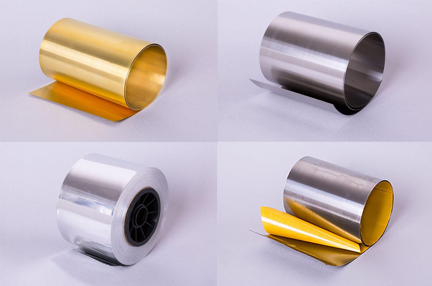 Metal foil and thin sheet metal in steel, aluminium, brass etc