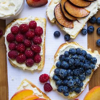 Breakfast Fruit Toast with Honey-Vanilla Mascarpone Ricotta Spread.