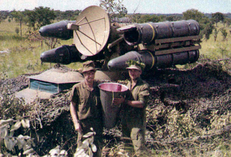 South African missile crew with French-designed Crotale missile battery. It is known as the Cactus missile in South Africa. One of the missiles had been fired at an attacking Mig-23 without success.