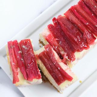 Cardamom Cheesecake with Rosewater Rhubarb