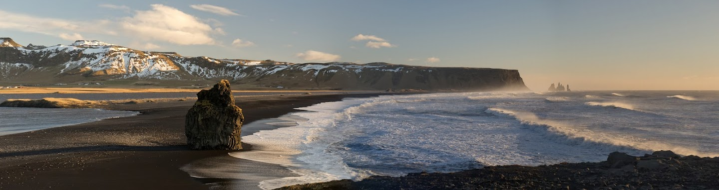 Black beach of Dyrholaey Vik in Iceland