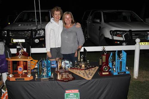 Narrabri Touch's Joan O'Neill farewells Tracy Warren from the committee on grand final night, Monday, April 3.