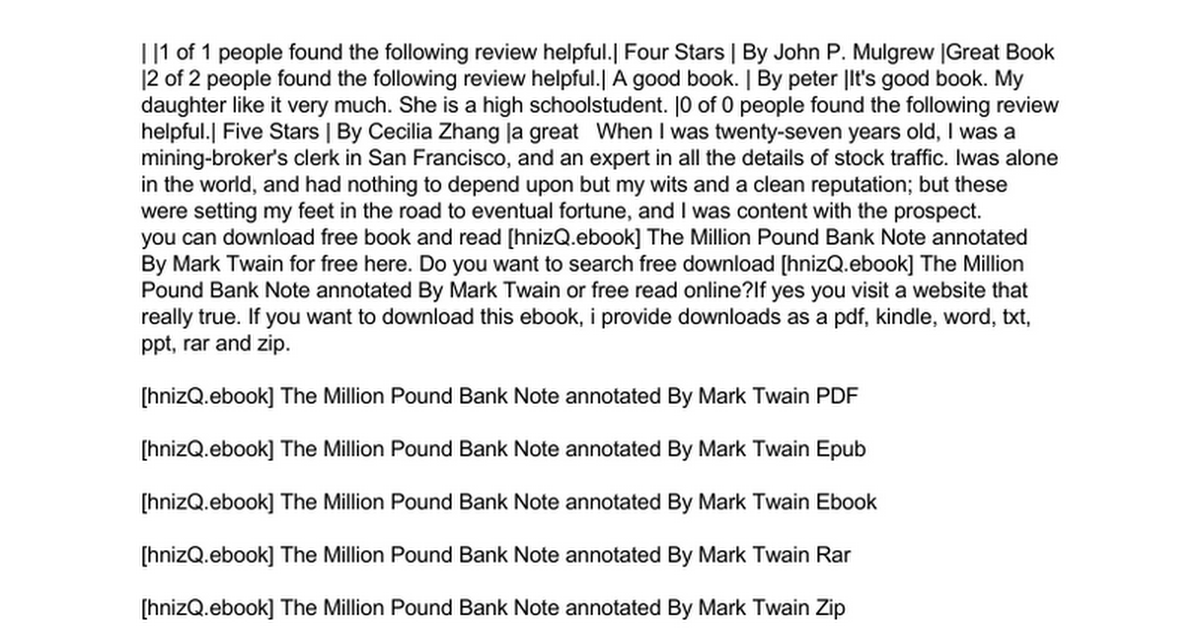 One million pound bank note audio book by mark twain | audiobooks. Net.