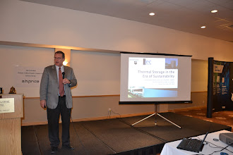 "Photo: ASHRAE OVC March Meeting - Bill Bahnfleth - ASHRAE Society President-Elect (DL) presenting topic ""Thermal Storage in the Era of Sustainability"""