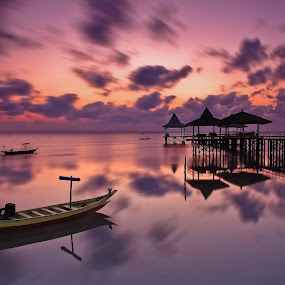 Clouds In Motion by Handi Laksono - Transportation Boats ( clouds, dawn, boats, sunrise )