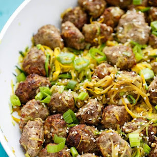 Miso Meatballs over Sauteed Zucchini Noodles.