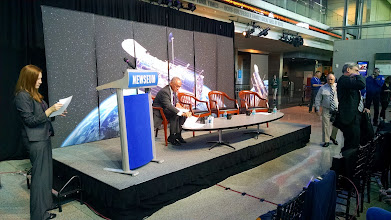 Photo: NASA Administrator Charles Bolden reviews his remarks prior to the start of the Hubble 25th Anniversary Image Unveiling press conference at the Newseum.