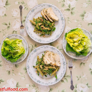 Asparagus Pesto Pasta with Chicken and Spring Greens.