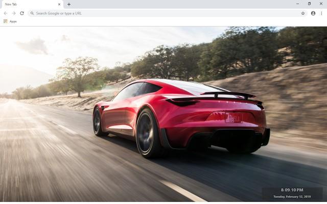 Tesla Roadster New Tab Theme