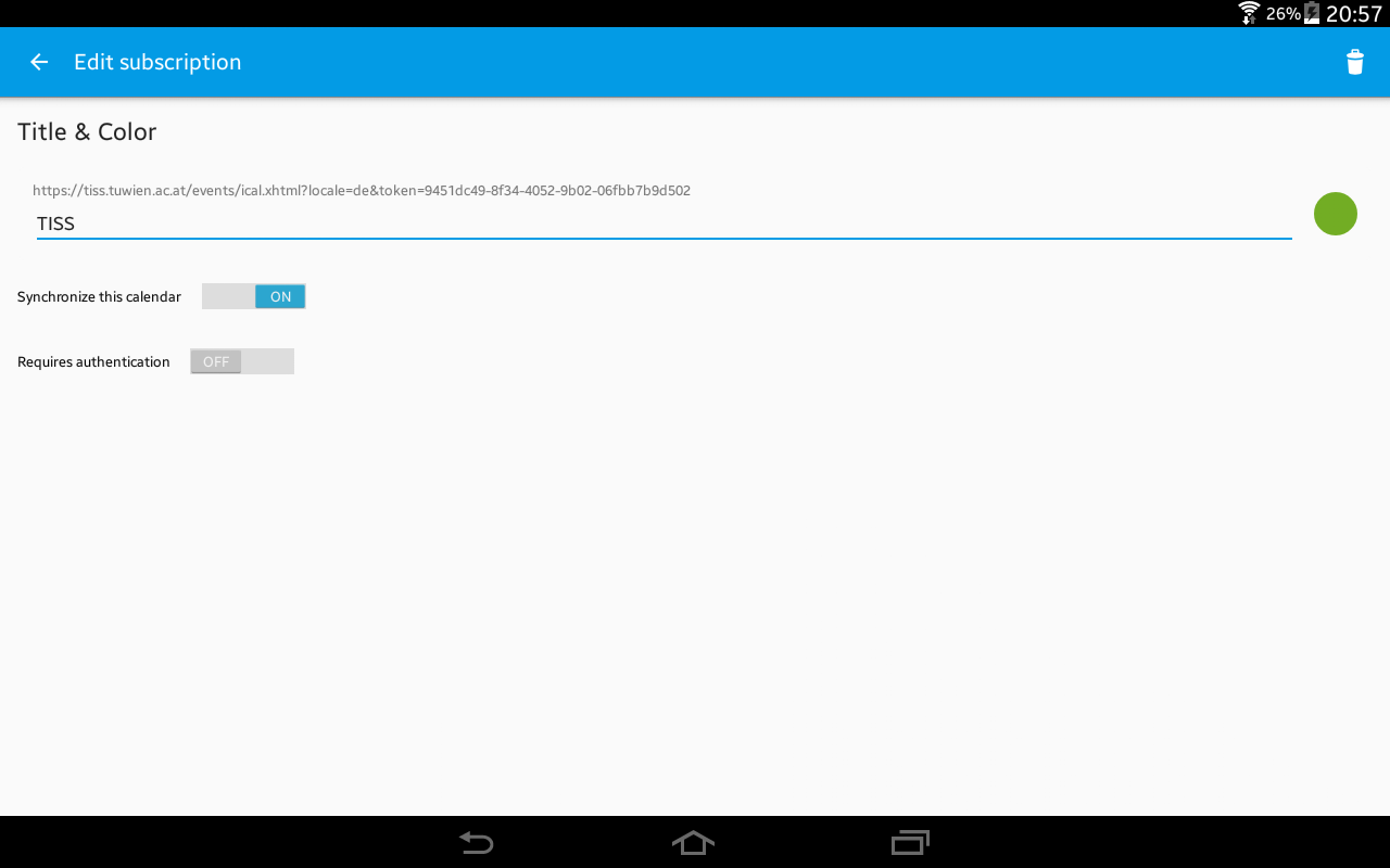 ICSdroid – sync Webcal/.ics- screenshot