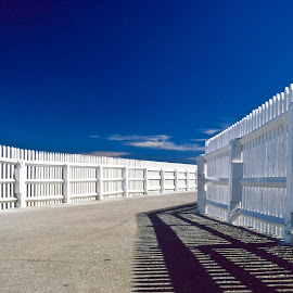 by Chris Cameron - Abstract Patterns ( fence, graphic, leading lines, sky, polariser, blue, pier, nikon )