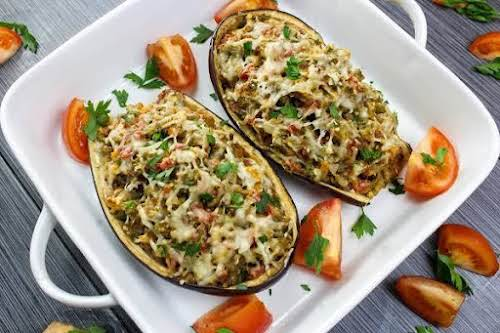 "Stuffed Eggplant Italiano ""This is a fantastic stuffed eggplant recipe. Veggies are..."