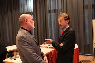 Photo: Allan Mayer and Daniel Holtgen before the Privacy vs Publicity debate - Forum Day 1