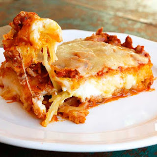 Spaghetti Squash Lasagna with Turkey Meat Sauce.