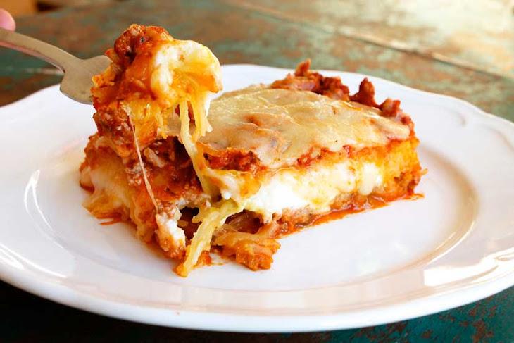 Spaghetti Squash Lasagna with Turkey Meat Sauce Recipe | Yummly