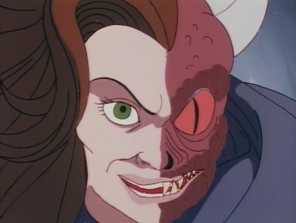 Syrith's half human, half demon face.