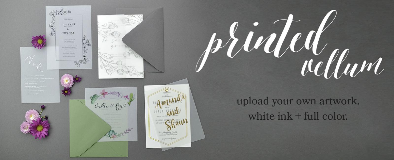 vellum paper wedding invites by Cards & Pockets