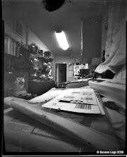 "Photo: Kitchen clutter. 5""x4"" flat paper negative, 55mm focal length"