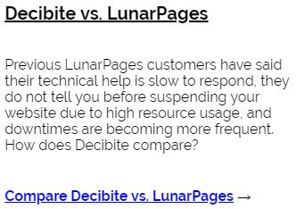 Decibite vs LunarPages